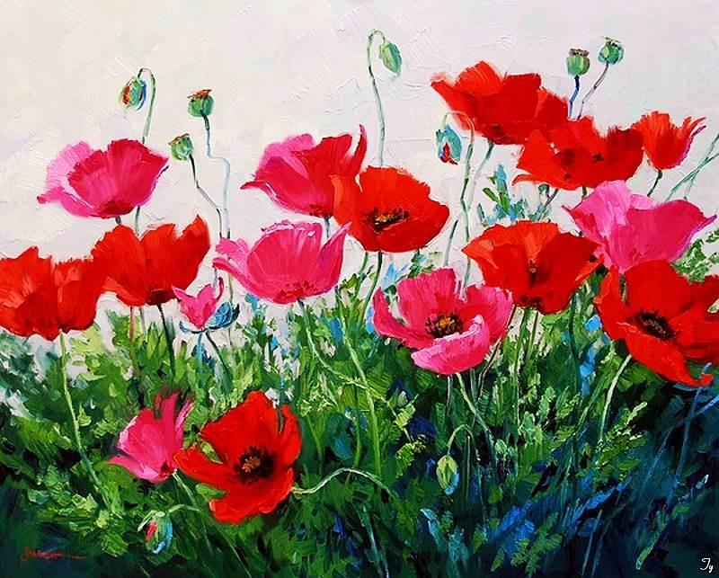 91期丹若 ~零基础油画,创作,临摹【mikki senkarik-那些花儿】